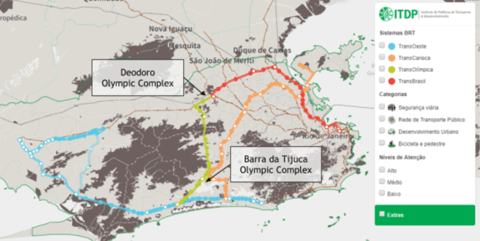 BRT TransOlímpica in green, as part of the city's BRT system, displayed on the interactive map created by ITDP Brazil