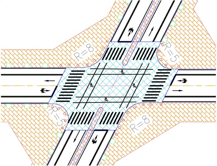 Fig.6 Intersection design for Shibobei Road and Dongsheng Street