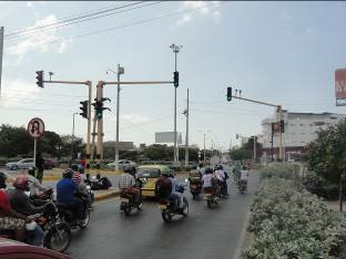 Heavy motorcycle traffic commonly seen on Cartagena's streets