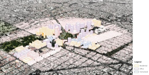 Illustrative massing model for proposed development at La Normal. (MIT-DUSP, 2017)