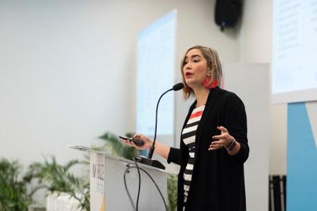 Angela Anzola de Toro, the Secretary for Women, Bogota speaks at MOBILIZE podium