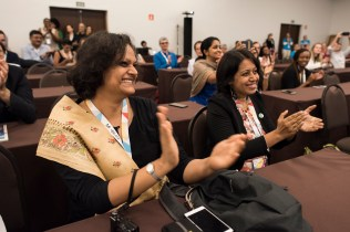 Shreya Gadepalli. ITDP South Asia Director and Pranjali Deshpande, Senior Programme Manager with ITDP India, applauded as Pune was announced.