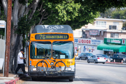 A man enters a westbound Metro bus on Valley Boulevard in Los Angeles on Thursday, June 14, 2018. (Photo by Sarah Reingewirtz, Pasadena Star News/SCNG)