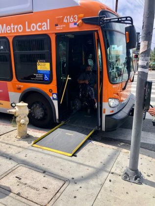 Without a proper bus stop, it's difficult for people in wheelchairs or with limited mobility to get in and out of the bus.
