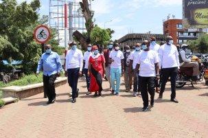 Kisumu officials met and took a walking tour of the new sidewalks.