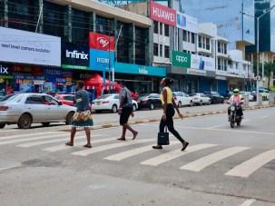 Tabletop crossings, pedestrian oriented crosswalks, improve safety.