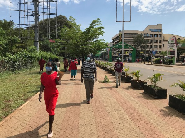 Sidewalks, like these in Kisumu Kenya, create safe walking environments for the many people who travel on foot.