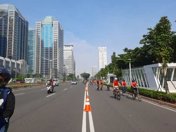 On a Car Free Day in Jakarta.