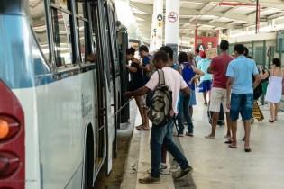 In Rio de Janeiro, Brazil, passengers board an e-bus.