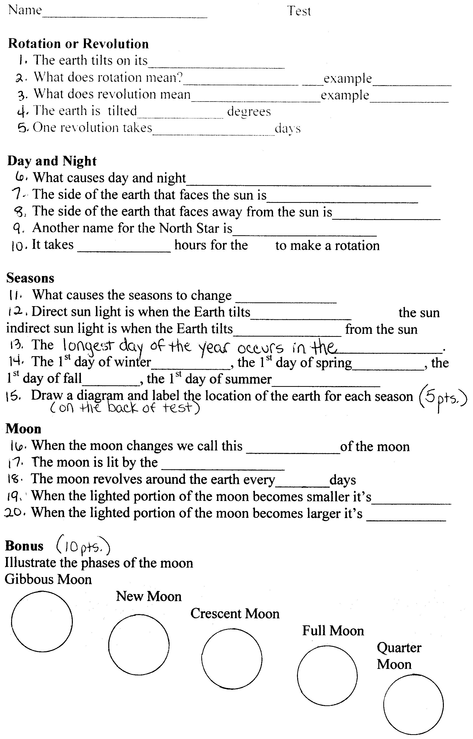High School Astronomy Worksheets Page 2