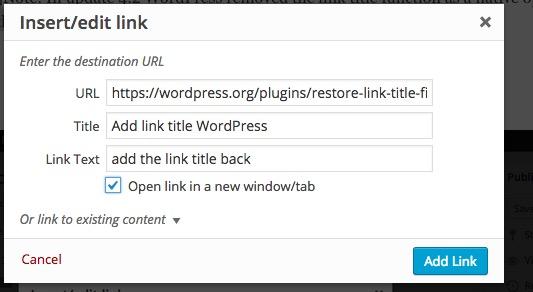 Plugin to Add link title WordPress