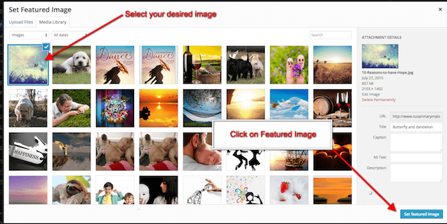 Select your blog posts featured image