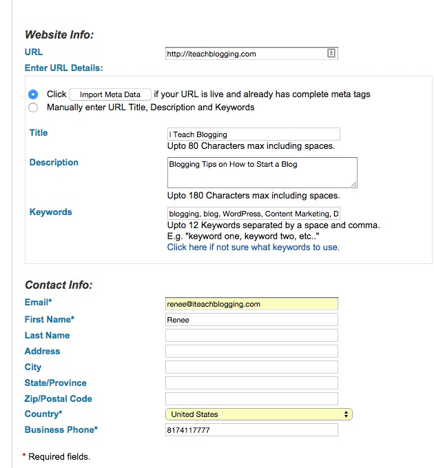 Addme Website Submission Free Tool