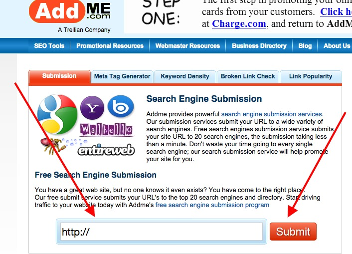 AddMe Website Submission