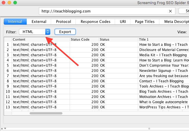 Use Screaming Frog filters for Content Audit