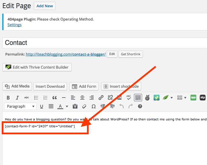 How to add contact 7 form to page