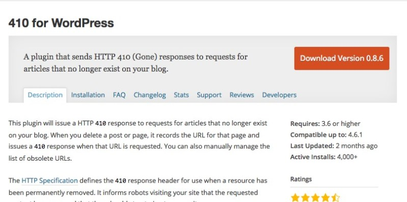 This WordPress plugin will issue a HTTP 410 response