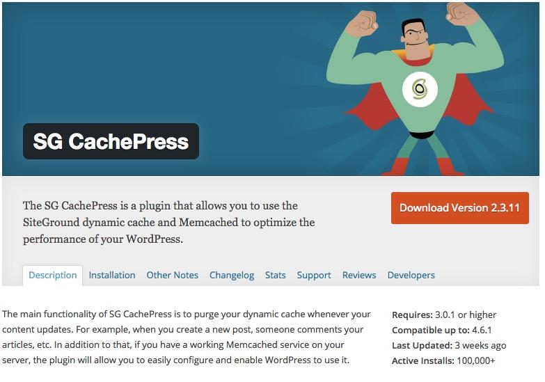 WordPress SiteGround Cache Plugin