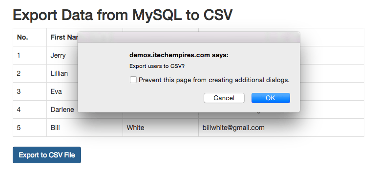 Export Data from MySQL to CSV Using PHP – iTech Empires