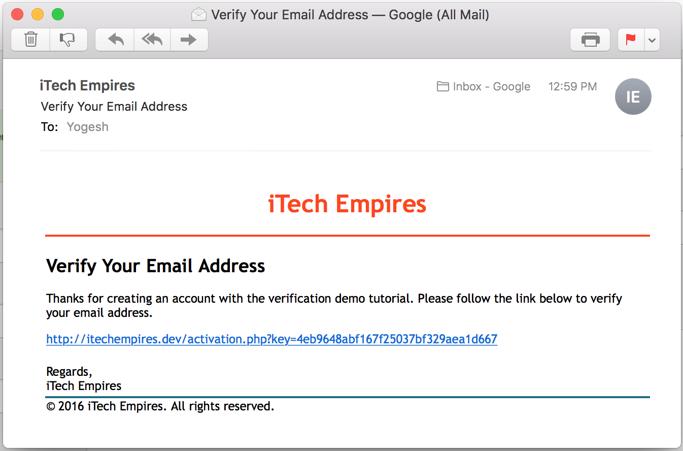 User Account Activation By Email Verification Using Php Itech Empires