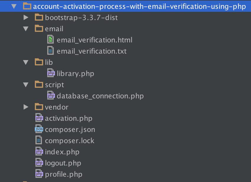 tutorial folder structure - Verify Email Address Php