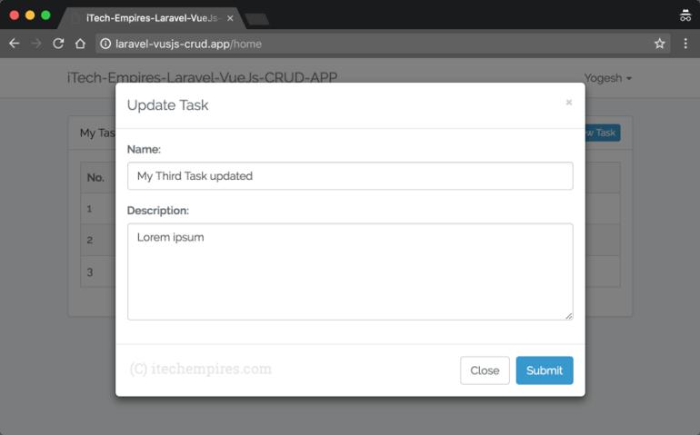 Update Task Model Popup