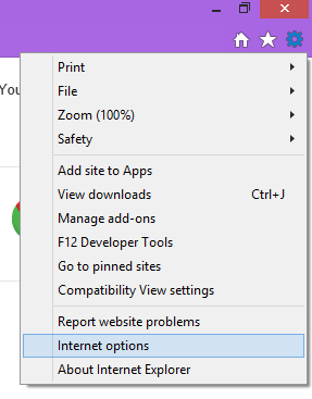 Internet explorer menu