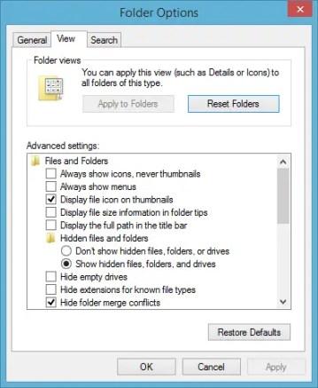 folder options settings