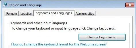 Change Keyboard Language windows 7