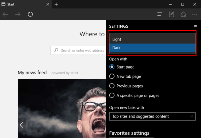 edge browser dark theme