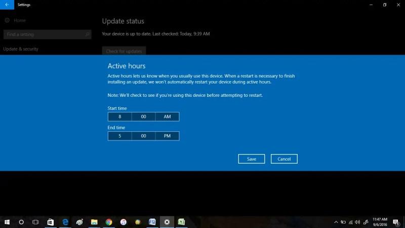 schedule windows update in windows 10