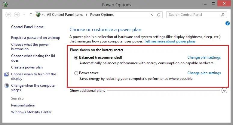 windows power settings