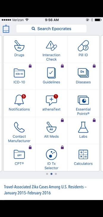 Epocrates app interface