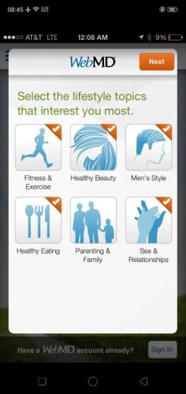 webmd medical app interface