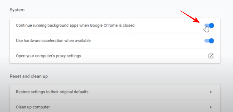 disable background apps in chrome