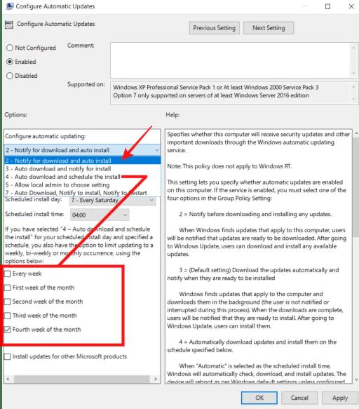 configure automatic updates gpedit