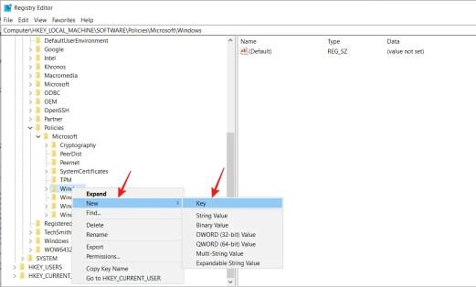 windows registry key