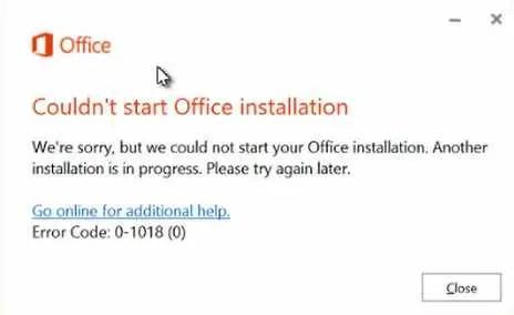 couldn't start office installation