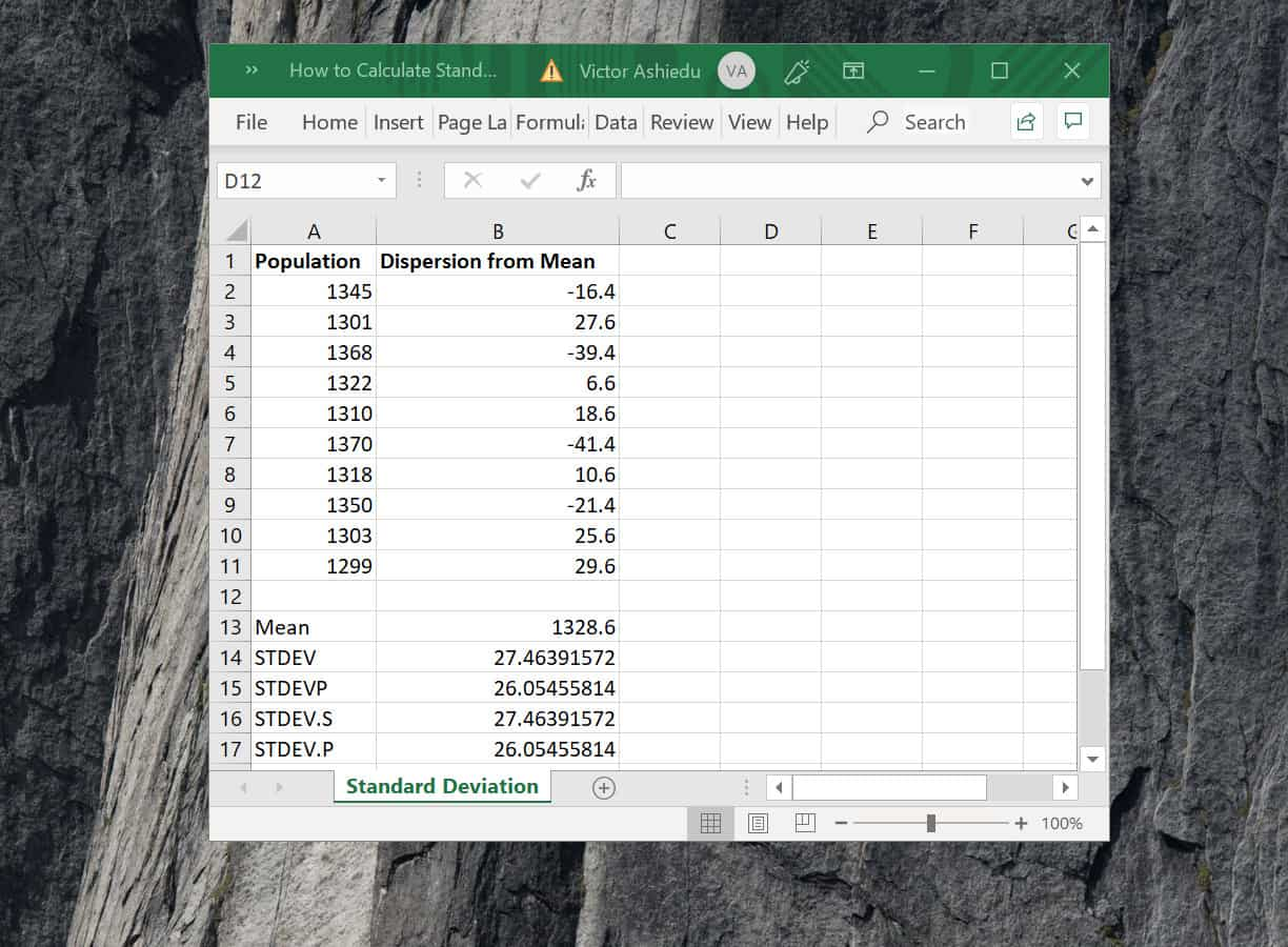 How To Calculate Standard Deviation In Excel