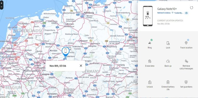 Locate lost Galaxy S20 Samsung find my mobile