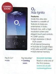 O2 XDA Ignito - rebranded Touch Diamond