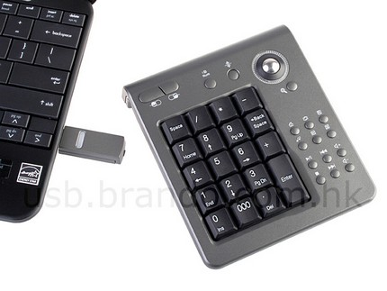 Wireless Number Keypad with Tracking Ball