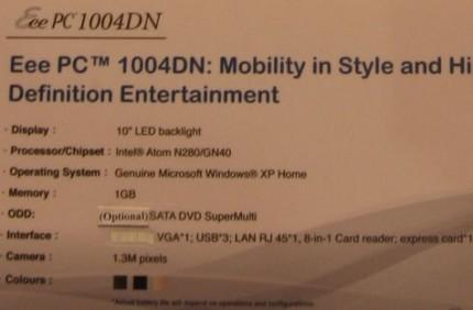 Asus Eee PC 1004DN powered by Atom N280
