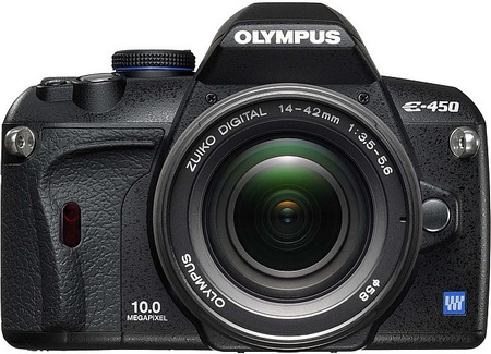 Olympus E-450 DSLR front