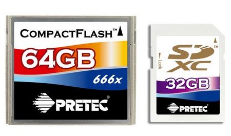 Pretec 666x CF and 32GB SDHC Memory Cards