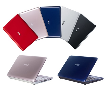 MSI Wind U100 PLUS Netbook in Rose Champagne and Metallic Blue