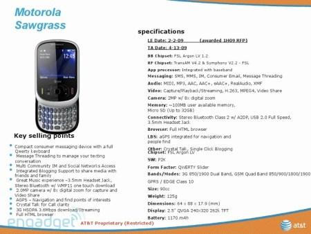 AT&T Motorola Sawgrass QWERTY slider details