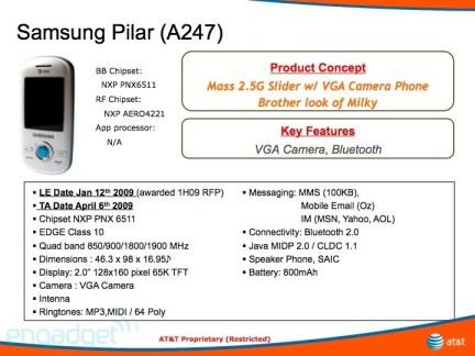 AT&T Samsung Pilar details