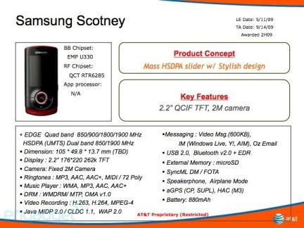 AT&T Samsung Scotney details