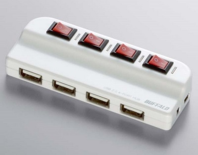 Buffalo BSH4A02 4-port USB Hub with Switch White